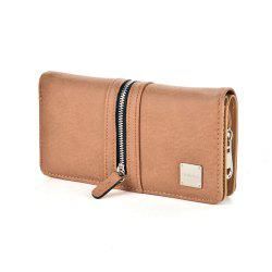 Women's Wallet Solid Color Style All Match Versatile Zipper Decor Bag -