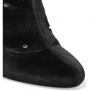 2018 New Simple Black Stretch Flannel High-Heeled Boots -