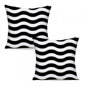 Black and White Stripes Ripple Household Pillowcase Cushion Cover Set Simple Fashion -