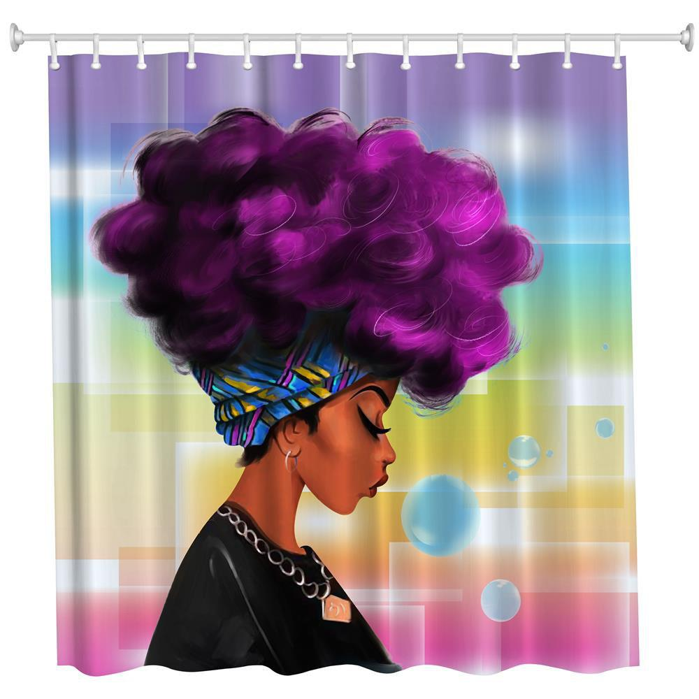 Purple Hair Girl Polyester Shower Curtain Bathroom High Definition 3D Printing Water Proof