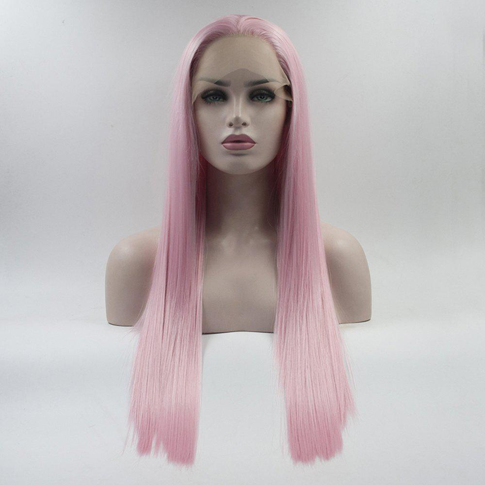 Outfit Color Pink Long Straight Heat Resistant Synthetic Hair Lace Front Wigs for Women