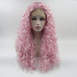 Pink Curly Style Long Hair Heat Resistant Synthetic Lace Front Wigs for Women -