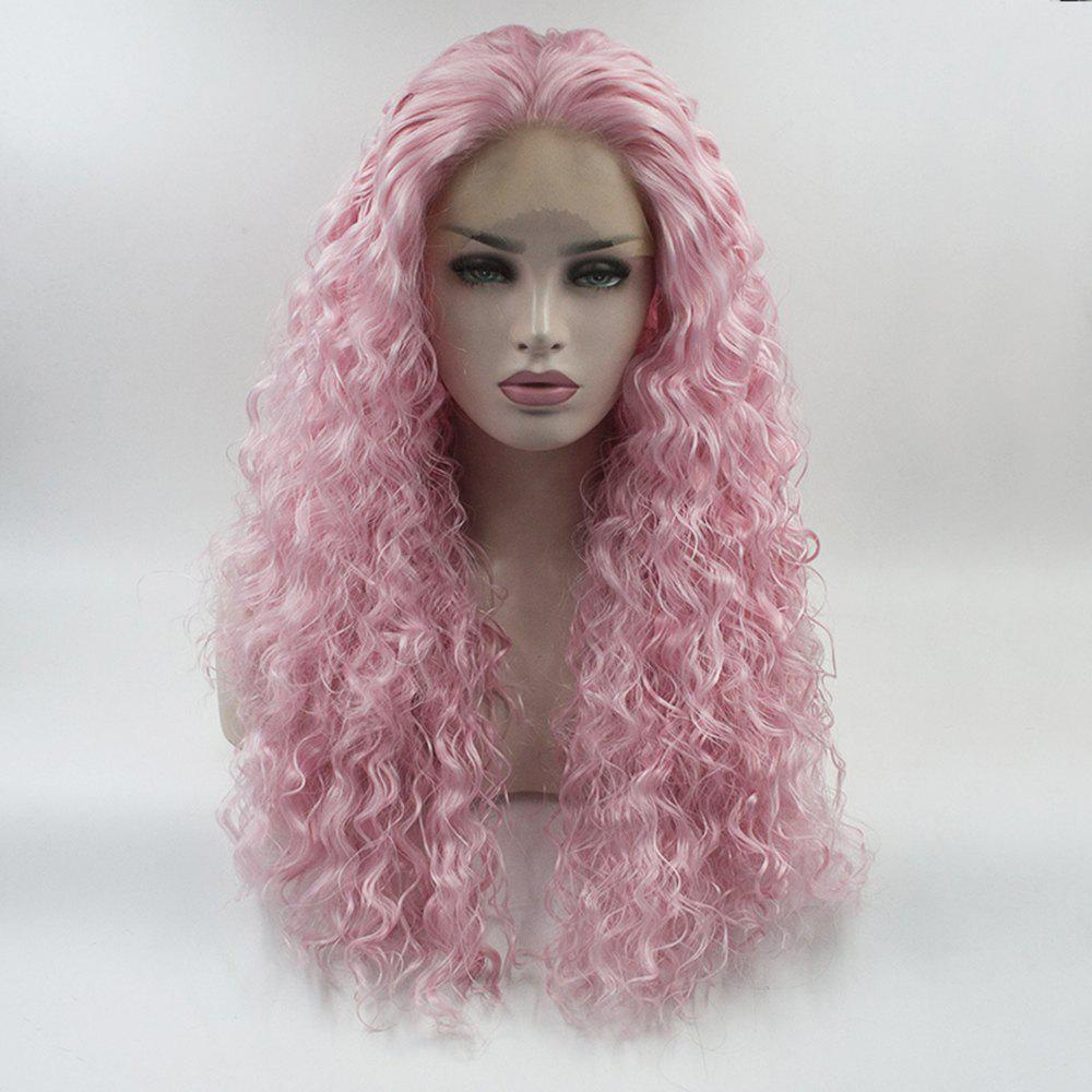 Cheap Pink Curly Style Long Hair Heat Resistant Synthetic Lace Front Wigs for Women