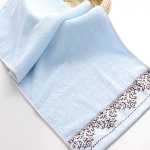 2 Pcs Face Towels Simple Jacquard Wave Water Absorption -
