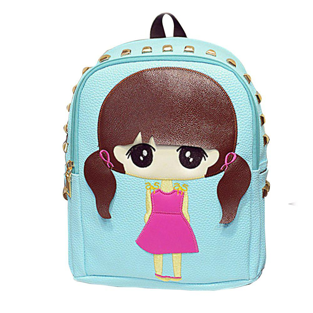 Fancy Girl's Backpack Cartoon Rivets Kids Bag