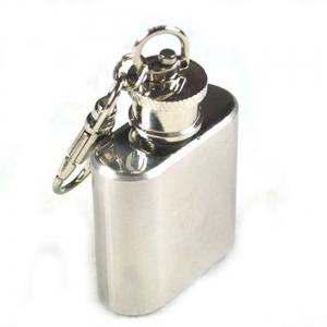 Mini Stainless Steel Flagon Keychain High Quality Silver -