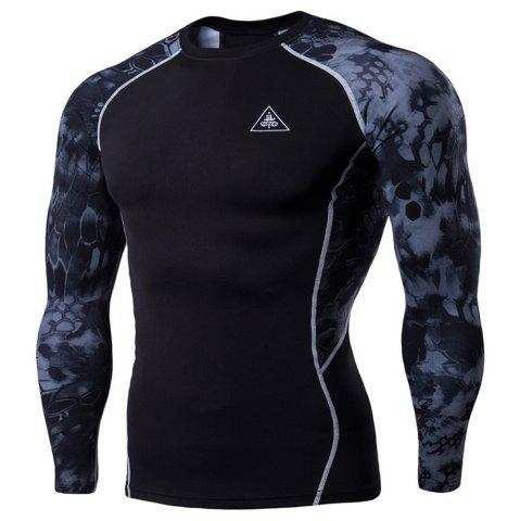 Shop Men's Digital Printing Long-Sleeved Fitness Python Speed Dry T-Shirt