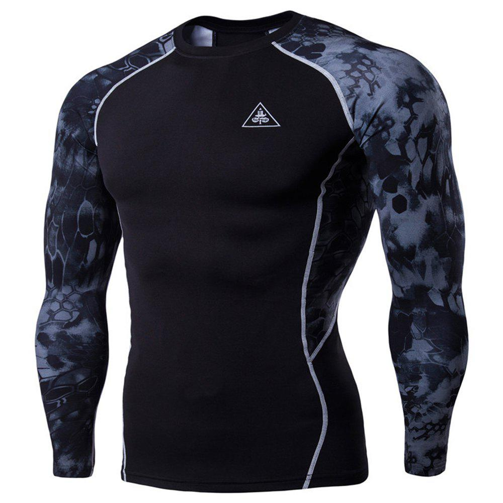 Chic Men's Digital Printing Long-Sleeved Fitness Python Speed Dry T-Shirt