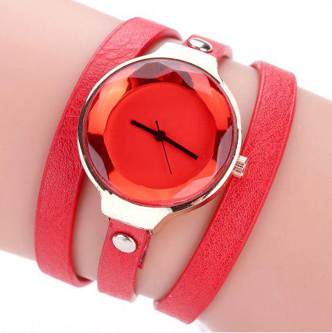 Affordable Fanteeda FD090 Women Leather Wrap Bracelet Wrist Watch