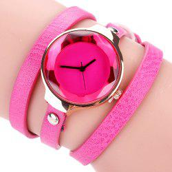Fanteeda FD090 Women Leather Wrap Bracelet Wrist Watch -