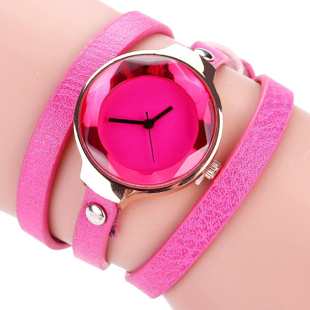Chic Fanteeda FD090 Women Leather Wrap Bracelet Wrist Watch