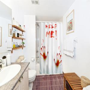 Blood Handprint Polyester Shower Curtain Bathroom  High Definition 3D Printing Water-Proof -