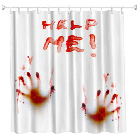 Discount Blood Handprint Polyester Shower Curtain Bathroom  High Definition 3D Printing Water-Proof