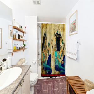 Ancient Egyptian Women Polyester Shower Curtain Bathroom  High Definition 3D Printing Water-Proof -
