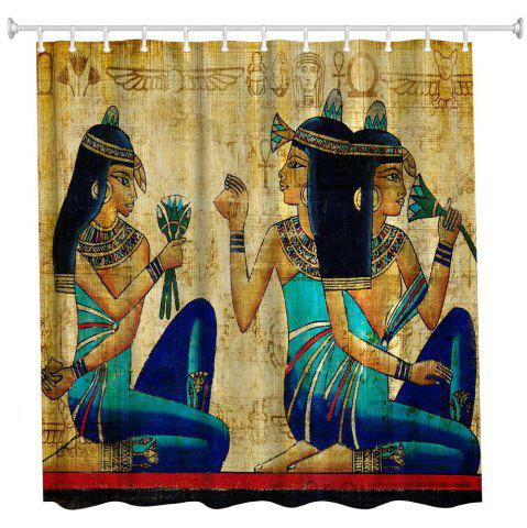 Trendy Ancient Egyptian Women Polyester Shower Curtain Bathroom  High Definition 3D Printing Water-Proof
