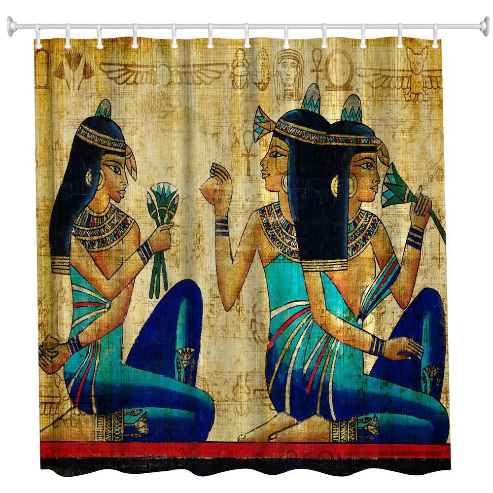 Outfits Ancient Egyptian Women Polyester Shower Curtain Bathroom  High Definition 3D Printing Water-Proof