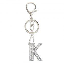 Fashion Jewelry Punk Rock Heavy Metal Style Crystal Portability Letter Charm Pendant Long Key Chain for Women -