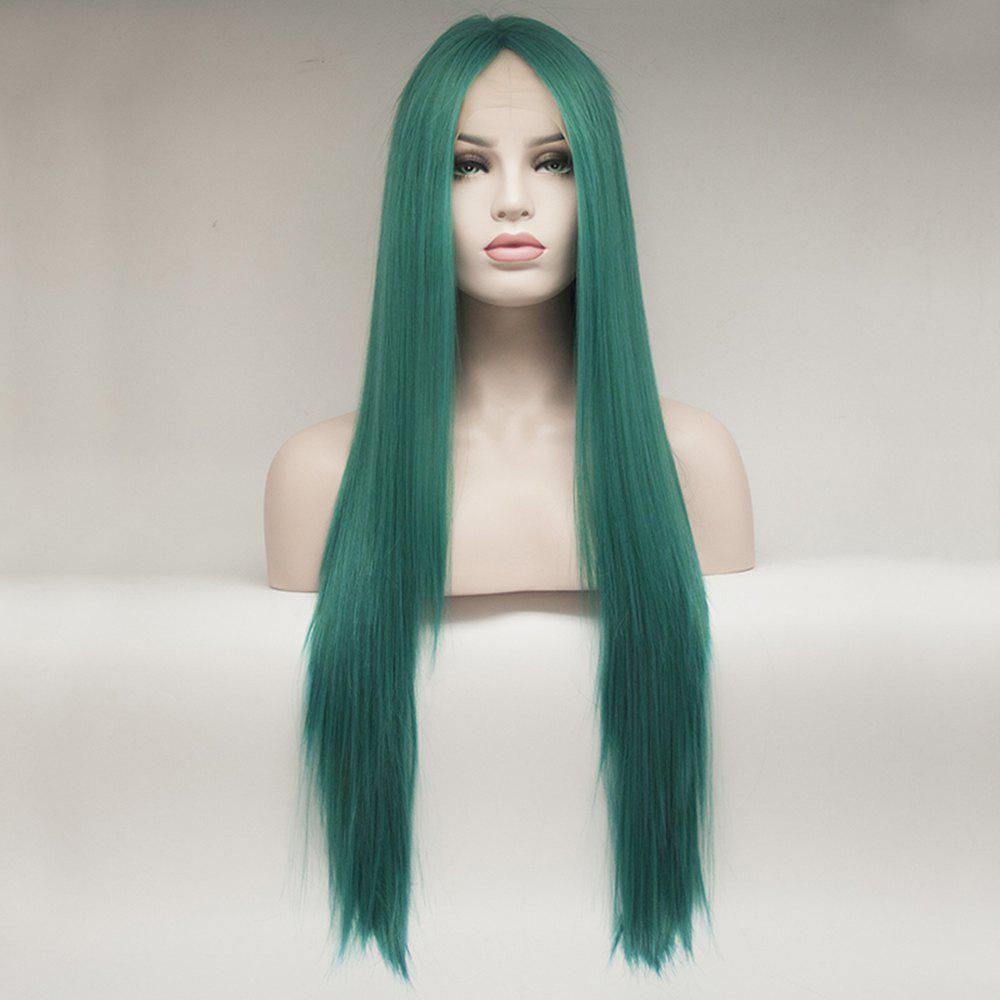 Outfit Color Green Long Straight Heat Resistant Synthetic Hair Lace Front Wigs for Women