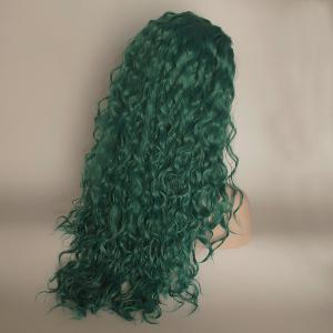 Green Color Long Curly Heat Resistant Synthetic Hair Lace Front Wigs for Women -