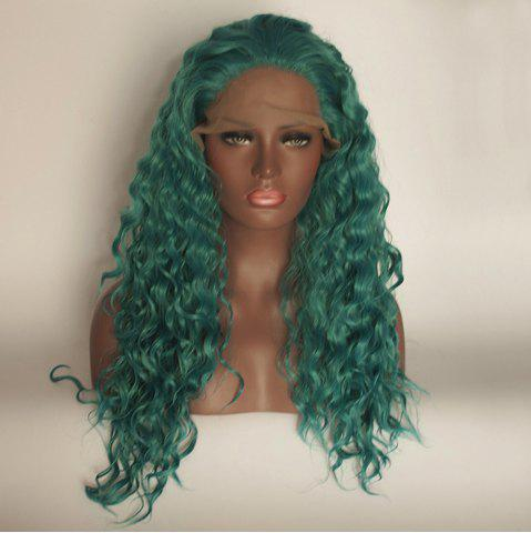 Discount Green Color Long Curly Heat Resistant Synthetic Hair Lace Front Wigs for Women