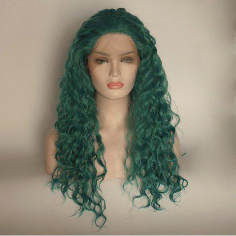 Fancy Long Curly Wavy Style Green Color Heat Resistant Synthetic Hair Lace Front Wigs for Women