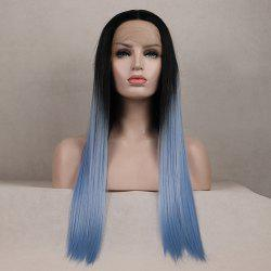 Color Light Blue Long Straight Ombre Black Root Heat Resistant Synthetic Hair Lace Front Wigs for Women -