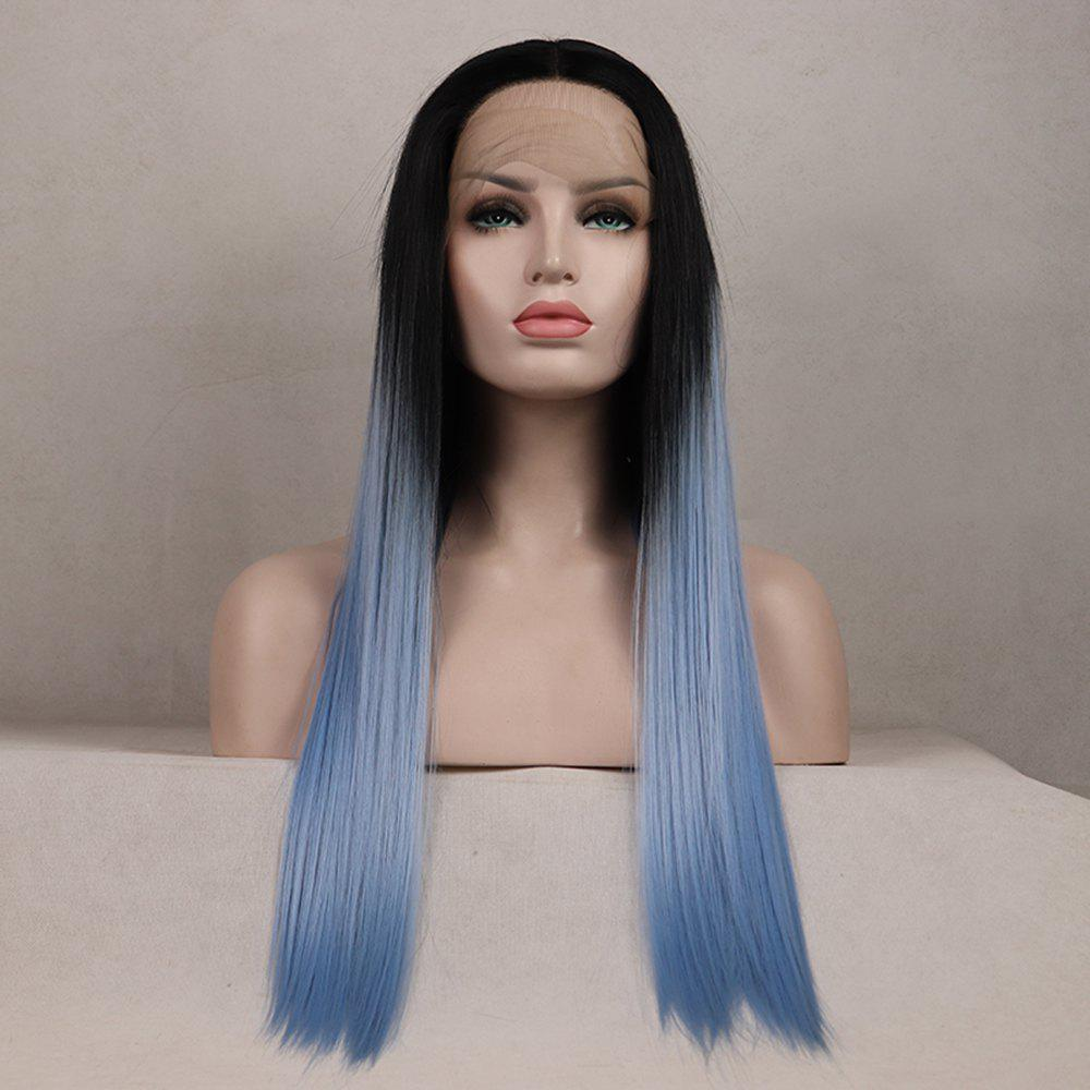 Outfits Color Light Blue Long Straight Ombre Black Root Heat Resistant Synthetic Hair Lace Front Wigs for Women