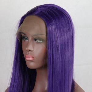 Purple Color Long Straight Style Heat Resistant Synthetic Hair Lace Front Wigs for Women -