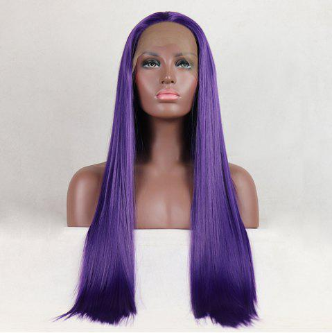 Chic Purple Color Long Straight Style Heat Resistant Synthetic Hair Lace Front Wigs for Women