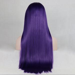 Purple Color Long Straight Heat Resistant Synthetic Hair Lace Front Wigs for Women -