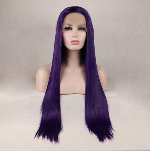 Outfit Purple Color Long Straight Heat Resistant Synthetic Hair Lace Front Wigs for Women