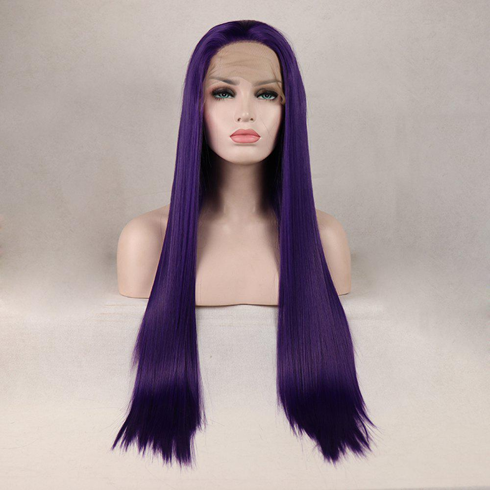 Store Purple Color Long Straight Heat Resistant Synthetic Hair Lace Front Wigs for Women