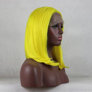 Light Yellow Bob Style Heat Resistant Synthetic Hair Lace Front Wigs for Women -