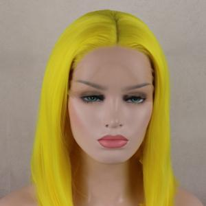 Bob Wavy Style Light Yellow Heat Resistant Synthetic Hair Lace Front Wigs for Women -