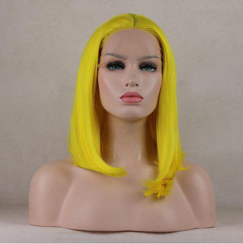 Affordable Bob Wavy Style Light Yellow Heat Resistant Synthetic Hair Lace Front Wigs for Women