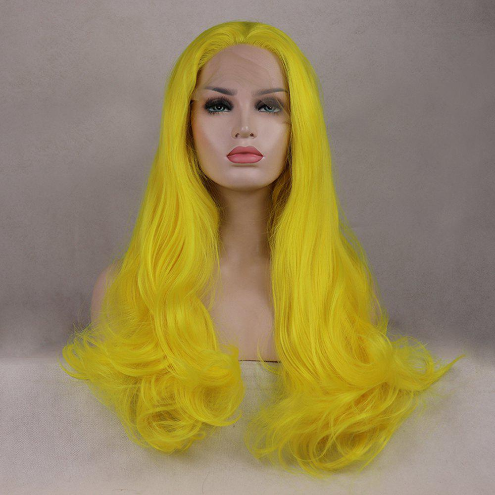 Outfit Light Yellow Long Curly Wavy Heat Resistant Synthetic Hair Lace Front Wigs for Women