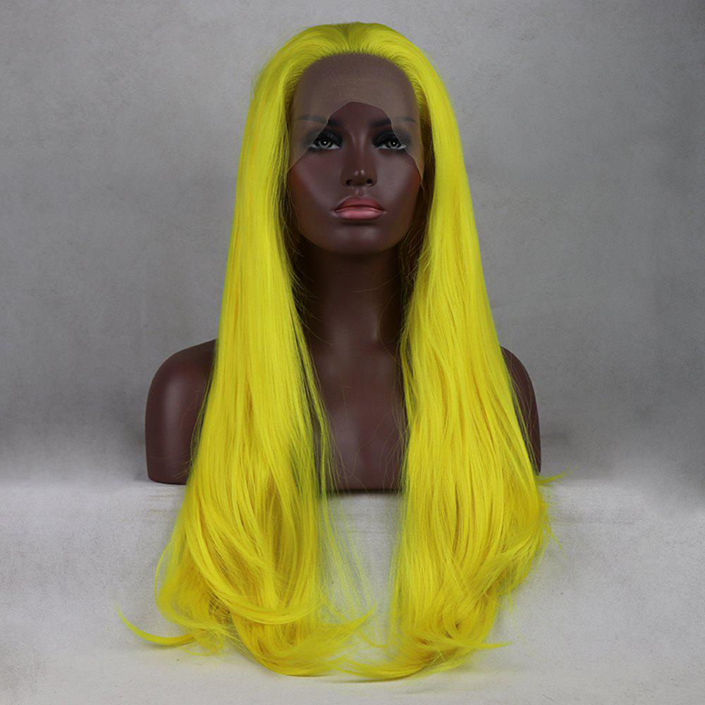 Trendy Light Yellow Long Natural Straight Heat Resistant Synthetic Hair Lace Front Wigs for Women