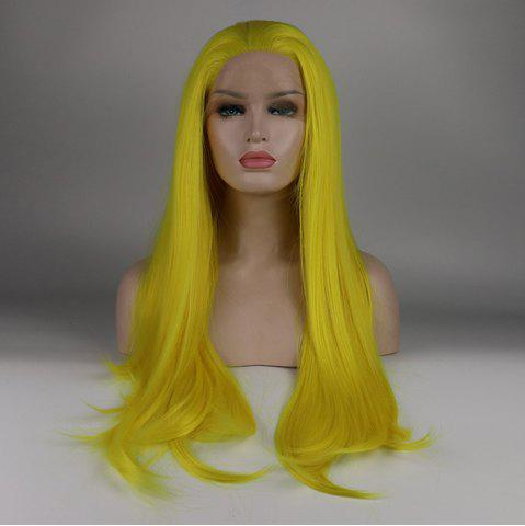 New Long Hair Yellow Color Straight Style Heat Resistant Synthetic Lace Front Wigs for Women