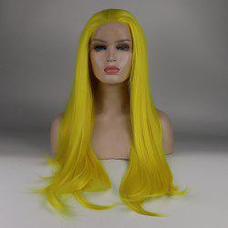 Long Hair Yellow Color Straight Style Heat Resistant Synthetic Lace Front Wigs for Women -
