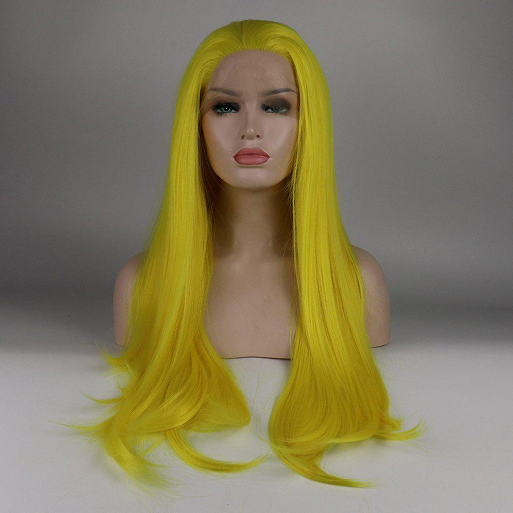 Sale Long Hair Yellow Color Straight Style Heat Resistant Synthetic Lace Front Wigs for Women