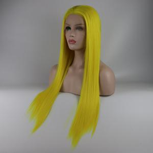 Light Yellow Long Straight Heat Resistant Synthetic Hair Lace Front Wigs for Women -