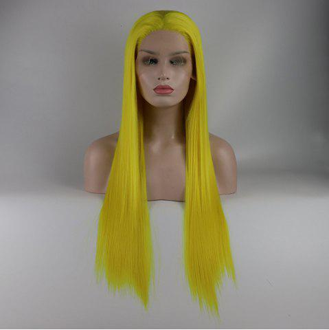 Store Light Yellow Long Straight Heat Resistant Synthetic Hair Lace Front Wigs for Women