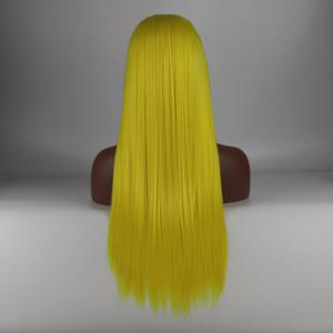 Yellow Long Straight Heat Resistant Synthetic Hair Lace Front Wigs for Women -
