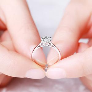 Women White Diamond Plated Wedding Cupronickel Jewelry Rings -