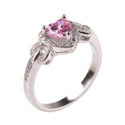 Women's Rose Gold Plated Heart Cut Cubic Zirconia Solitaire Wedding Stainless Steel Rings -