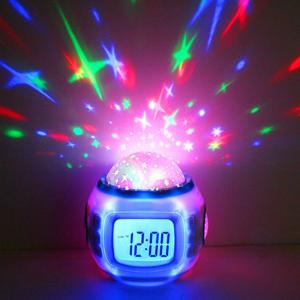 Projection Alarm Clock Night Light Star Sky Music Home Travel Snooze Bedrooms Children with LED Blue Backlight 7 Colorfu -