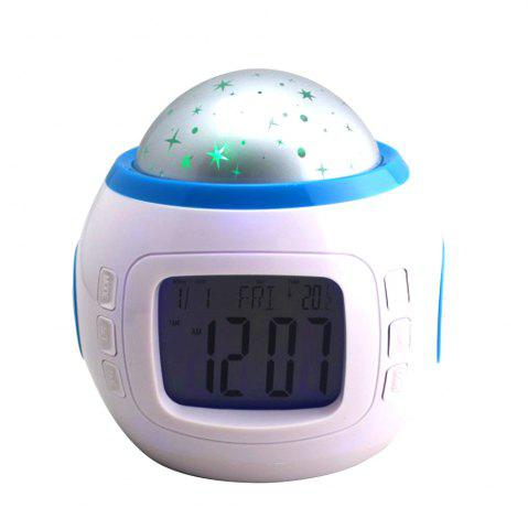 Online Projection Alarm Clock Night Light Star Sky Music Home Travel Snooze Bedrooms Children with LED Blue Backlight 7 Colorfu
