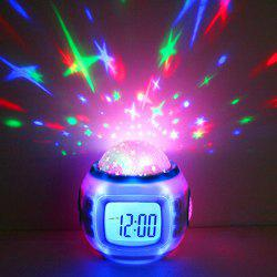 Projection Alarm Clock Night Light Star Sky Music Home Travel Snooze Bedrooms Children with LED Blue Backlight 7 Colorful -