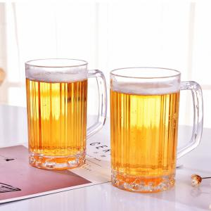 2Pcs Beer Glasses Clear Drink Party Cups Picnic Drinking Mug Tankards Great Gift -