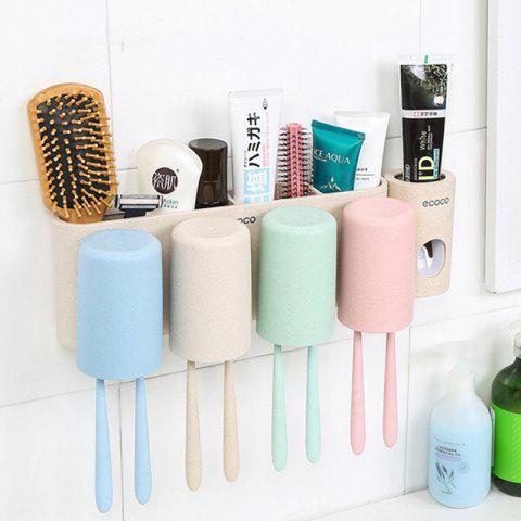 Buy Wheat Straw Washing Set Four Family Toothbrush Rinse Cup Wall Wash Box